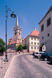 Evanghelical Church in Sibiu. Image showing the Evanghelical Church and its famous tower Royalty Free Stock Photos