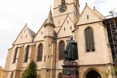 Evanghelical kyrka Sibiu Rumänien Royaltyfri Fotografi