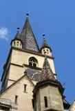 Evanghelical kyrka Sibiu Rumänien Royaltyfri Bild