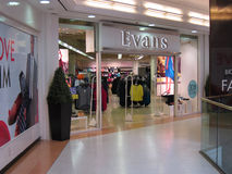 De kledingsopslag van Evans. Stock Foto's