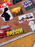 Evanston, IL/USA - 01-13-2019: Closeup details of mural of vision board painted on brick wall. Goals stock photo