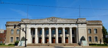 Evansville Coliseum. This is a Summer picture of the Soldiers and Sailors Memorial Coliseum located in Evansville, Indiana.  The building was designed by Royalty Free Stock Photography