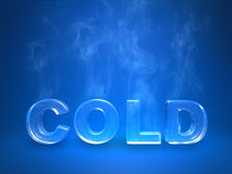 Evaporating icy cold enscription on a blue studio Royalty Free Stock Photography