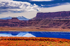 Evaporation Ponds near Potash Road in Moab Utah Stock Images