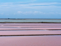 Evaporation ponds of saline refinery saltworks Stock Photo