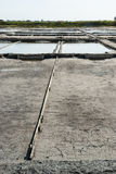 Evaporation ponds of salt farm, Portugal Stock Photo