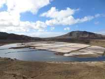 Evaporation ponds of saltponds. Santa Maria Saltpans is a saline marsh in the southernmost portion of the island of Sal, Cape Verde nearly surrounding the town Royalty Free Stock Photo