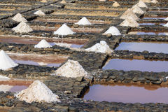 Evaporation ponds for sea salt production Stock Photo