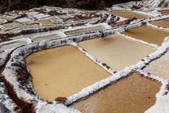 Evaporation pools in Maras. A mine where salt has been extracted for centuries, Cusco, Peru royalty free stock image
