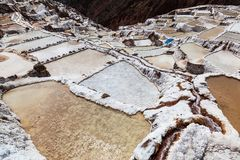 Evaporation pools in Maras. A mine where salt has been extracted for centuries, Cusco, Peru stock image