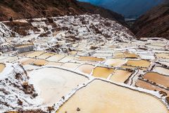 Evaporation pools in Maras. A mine where salt has been extracted for centuries, Cusco, Peru royalty free stock photography