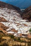 Evaporation pools in Maras. A mine where salt has been extracted for centuries, Cusco, Peru royalty free stock photos