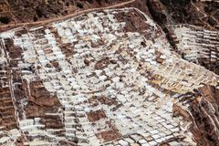 Evaporation pools in Maras. A mine where salt has been extracted for centuries, Cusco, Peru stock photo