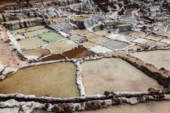Evaporation pools in Maras. A mine where salt has been extracted for centuries, Cusco, Peru stock photography