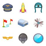 Evasion icons set, cartoon style. Evasion icons set. Cartoon set of 9 evasion vector icons for web isolated on white background Royalty Free Stock Images