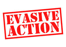 EVASIVE ACTION. Red Rubber Stamp over a white background Stock Photos