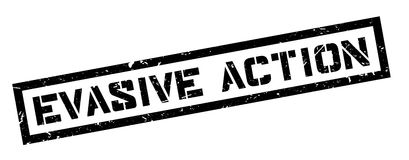 Evasive Action rubber stamp Stock Photo