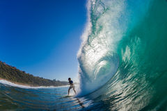 Evasive Action Surf Rider Hollow Wave Royalty Free Stock Photo