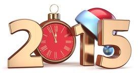 2015 Eve будильника рождества Новых Годов украшения шарика Стоковые Фото