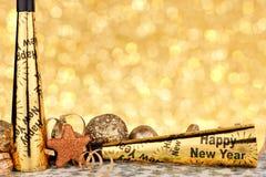 Eve Новые Годы границы партии с предпосылкой света мерцания Стоковое Изображение
