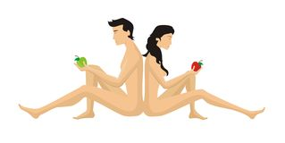 Eve and Adam with apples Stock Photography