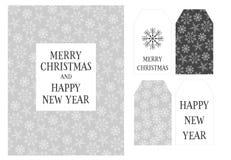 Eve Card de beau Noël et de nouvelle année et ensemble de vecteur d'étiquette illustration de vecteur
