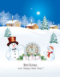 On the eve of Christmas and New Year. Christmas card with a snowman and a clock on the background of a winter landscape royalty free illustration