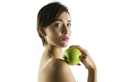 Eve with green apple Royalty Free Stock Image