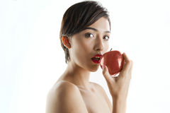 Eve with green apple Royalty Free Stock Photos
