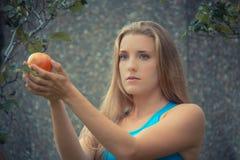 Eve im Paradies, den Apfel nehmend Stockfotos