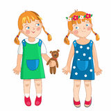 Eve litte girl in spring and summer. Royalty Free Stock Photo