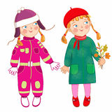 Eve litte girl in winter and atuumn. Eve little girl a white bacground Stock Photo