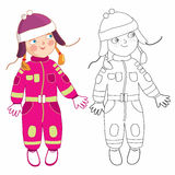 Eve litte girl in winter - coloring books. Eve little girl a white bacground Stock Image