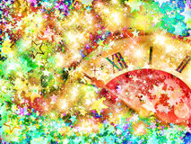 Eve of new year.Clock face and multicolored shining stars. Eve of new year.Clock face on multicolored shining stars background royalty free illustration
