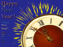 Eve of new year.Clock face and yellow firework on blue backgroun. Clock face and yellow firework taken closeup on blue background.Eve of new year Stock Images