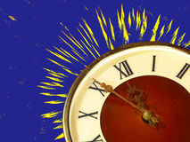 Eve of new year.Dial of hours and fireworks on blue background. Stock Photography
