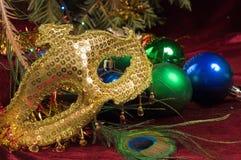 Eve Party Decoration del Año Nuevo del vintage en el fondo del Foto de archivo libre de regalías