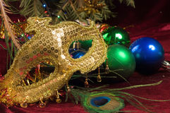 Eve Party Decoration van het uitstekende Nieuwjaar op de achtergrond van Royalty-vrije Stock Foto