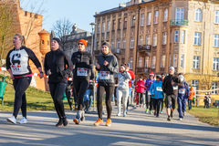 12. Eve Race des neuen Jahres in Krakau Lizenzfreies Stockfoto