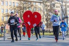 12. Eve Race des neuen Jahres in Krakau Das Leutelaufen gekleidet in den lustigen Kostümen Lizenzfreie Stockfotos