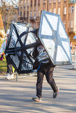 Eve Race van het 12de Nieuwjaar in Krakau Mensen het lopen kleedde zich in grappige kostuums Royalty-vrije Stock Afbeelding