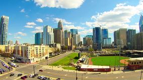 Charlotte city skyline near bbt ballpark  stadium stock video footage