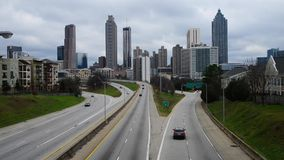 atlanta city skyline and  traffic stock video footage