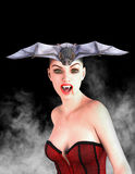 Evel Vampire, Vampiress, Woman. Illustration of a vampire woman. The vampiress monster has bat for hair. Watch out for the fangs stock photography