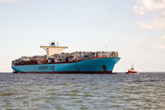 Evelyn Maersk-Containerschiff Stockfotos