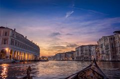 Evening Canal tour in Venice drama sunset 2 royalty free stock photography