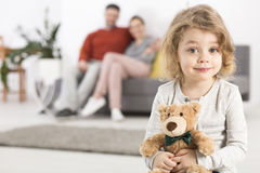 Even a teddy bear has its place in the family Stock Image
