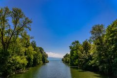 River mouth of Argen at Lake constance. royalty free stock images