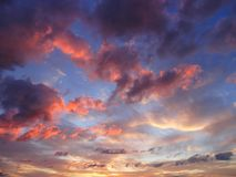 Evenig sky. Coloured clouds in the evening sun Stock Images