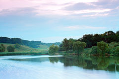 Evening湖 免版税库存图片